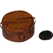 REDUCED Vintage Doll Miniature Leather Suit Hat Box Case Carrying Case Leather
