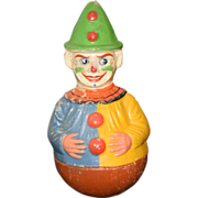 REDUCED Antique Doll Papier Mache Clown Roly Poly W/ Moving Googly Jester