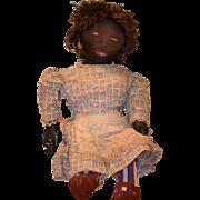 REDUCED Antique Doll Black Cloth Folk Art Primitive WONDERFUL