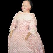 REDUCED Antique Doll Papier Mache Poupee  French Market Paper Mache