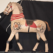 REDUCED Old Horse Carved Wood Pull Toy Ride On Horse For Doll