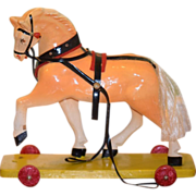 REDUCED Old Doll Pull Toy Horse For Bisque Wood Horse on Wheels