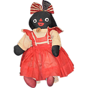 REDUCED Old Doll Black Cloth Rag Doll Character Dressed Americana