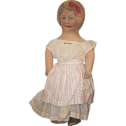 REDUCED Old Doll Cloth Printed Dressed Large Vivid Color