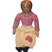 REDUCED Old Doll Cloth Printed Face Unusual