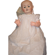 REDUCED Antique Doll Bisque Large Baby  Dressed Solid Dome