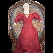 REDUCED Old Doll Cloth Lady Doll Sewn Features Folk Art