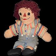 REDUCED Old Doll Raggedy Andy Asleep & Awake Cloth