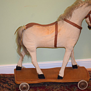 REDUCED Antique Doll Toy Horse Pull Toy Ride On Wood Wheels