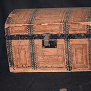 Antique Doll Trunk Litho Wood Dome Top Miniature