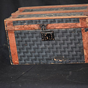REDUCED Antique Doll Trunk Litho Miniature W/ Tray Wood
