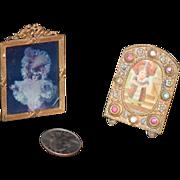 REDUCED Old Doll Miniature Frame Set Ormolu & Jewels Two Frames Ornate Dollhouse Fashion Doll