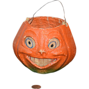 REDUCED Antique Pumpkin Container Candy Holder Papier Mache W/ Paper Features Jack O'lantern .