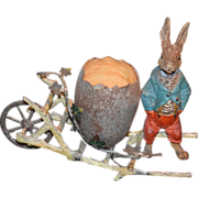 REDUCED Antique Doll Candy Container W/ Nodder Rabbit and egg Cart For Doll Cold Painted ...