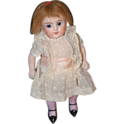 REDUCED Antique Doll Bisque Miniature Dollhouse Pink Stockings All Bisque Kestner Glass Eyes