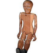 REDUCED Old Doll Carved Wood Jointed Pegged Swivel Head