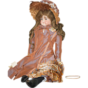 REDUCED Antique Doll Bisque Solid Dome Head Turned Head Dressed ABG Gorgeous