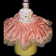 REDUCED Old Doll Half Doll China Head In Original Can Powder Jar Unusual