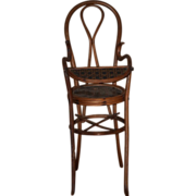 Antique Doll Bentwood Bent Wood Doll High Chair Wood & Litho