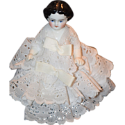 REDUCED Antique Doll Frozen Charlotte Wonderful Miniature Dressed Dollhouse