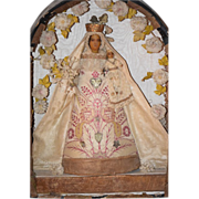 REDUCED Antique Doll French Diorama Mary with Baby Jesus Poured Wax in Original Box