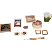 Antique Doll Miniature Lot Dollhouse Frames Photograph Tin Types Book Powder Box Pottery Gold