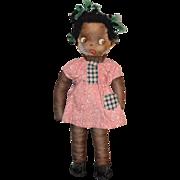 REDUCED Vintage Black Cloth Doll Paper Face Adorable Miniature