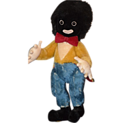 REDUCED Vintage Doll Black Cloth Merrythought Gollywog Golliwog Mohair W/ Tags Jointed