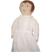 Wonderful Doll Vintage Cloth  Painted LARGE w/ Wonderful White Wear & Old Shoes