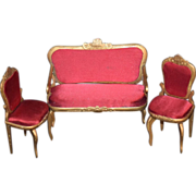 Vintage Doll Dollhouse Miniature Wood & Fabric Settee Chairs Dollhouse Gorgeous Parlor Set