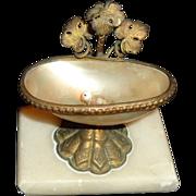 REDUCED Antique Ornate Marble Shell Metal Miniature Bird Bath Doll House Murano Glass Bird ...