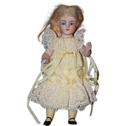 REDUCED Antique Doll Miniature Bisque Dollhouse Yellow Stockings Thigh High Glass Eyes