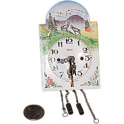 REDUCED Antique Doll Miniature German Enamel Clock with Key Perfect for your Fashion Doll or .