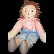 REDUCED Old Doll Raggedy Andy Cloth unusual Stripe Legs Rag Doll