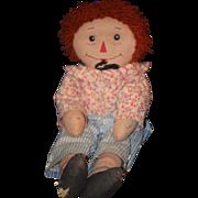 REDUCED Vintage Doll Raggedy Andy Unusual Rag Doll