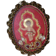 REDUCED Vintage Doll Miniature Wax in Case Dollhouse Baby Jesus German