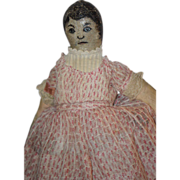 Old Doll Cloth Oil Cloth Painted Doll Painted Features Folk Art