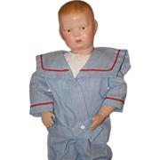 Antique Doll Schoenhut Wood Carved Jointed Boy Doll Adorable Copyright Mark