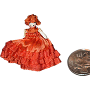 REDUCED Vintage Doll Miniature Wood Jointed Dollhouse Grodnertal TINY Dressed