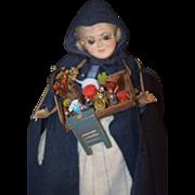 REDUCED Vintage Doll Artist Peddler Doll Porcelain Glass Eyes Signed Doris Wonderful