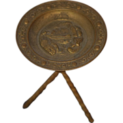 REDUCED Old Doll Miniature Table Metal Ornate Dollhouse Platter Table W/ Scene Ormolu