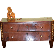 REDUCED Antique Doll Miniature Chest For Fashion Doll Wood Fancy Ormolu Marked On Bottom Inlai