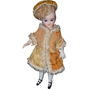 REDUCED Antique Doll Mignonette All Bisque Swivel Head Fancy Clothes French Market