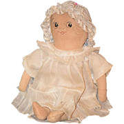 REDUCED Old Doll Cloth Rag Doll Sewn Features Adorable Face