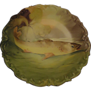 REDUCED Antique Limoges Hand Painted Fish Plate Platter Signed Gorgeous