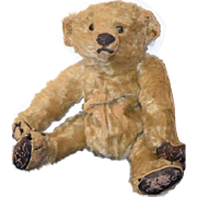 SOLD Vintage Teddy Bear Mohair Jointed Leather Paws Button Eyes
