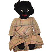 REDUCED Old Doll Black Cloth Rag Doll Button Eyes Stockinette