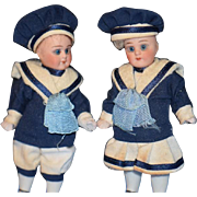 Old Doll All Bisque Miniature Sailor Set Dollhouse Swivel Neck Adorable