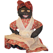 REDUCED Old Doll Black Cloth Rag Doll Painted Features Wonderful