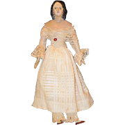REDUCED Antique Doll Milliner's Model Wood & Papier Mache Rare Hair Style